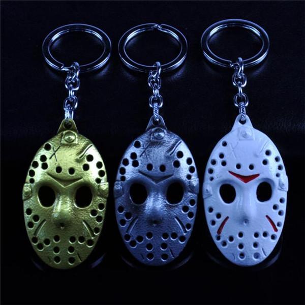 10 adet Toplu Film Rakamını Cuma 13th Maske Anahtarlık Hediye Için 3 Renkler Metal Anahtar Yüzükler llavero Anahtar Hediyeler Promosyon