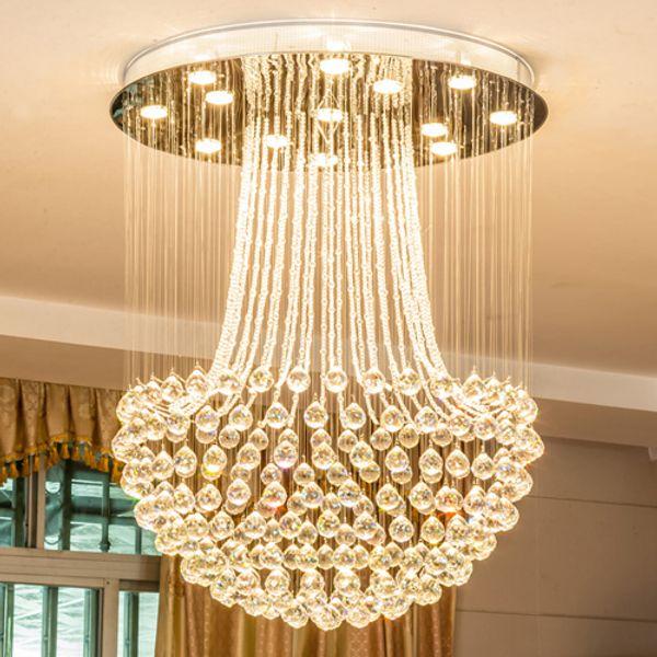 Nouveau design LED plafonds en cristal lustres de cristal chute de pluie moderne lustre rond éclairage lampes suspendues pour escaliers en duplex villa hôtel