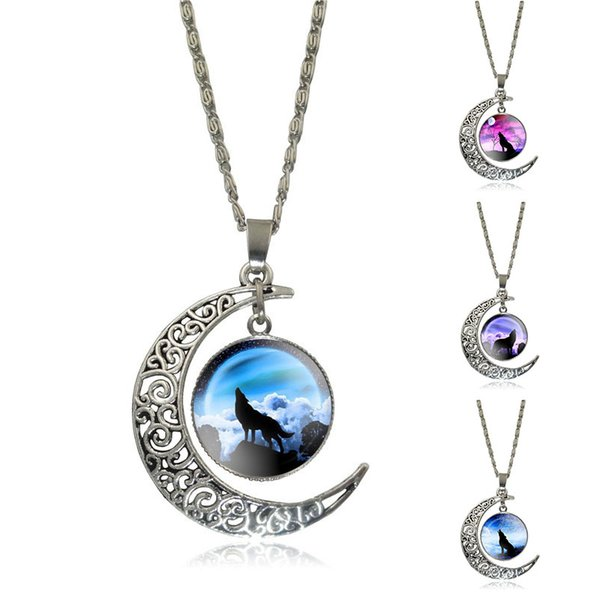 Wholesale-Newest Glass Cabochon Wolf Picture Pendant Vintage Jewelry Silver Plated Half Moon Chain Necklace for Women Necklaces & Pendants