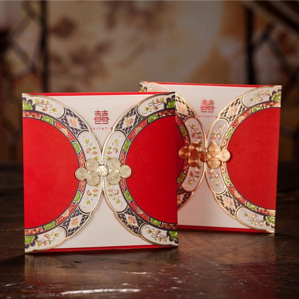 Trasporto libero all'ingrosso 10pcs carta dell'invito di cerimonia nuziale di stile cinese Wishmade Convite Rifornimenti del partito di evento di Casaver CW3082
