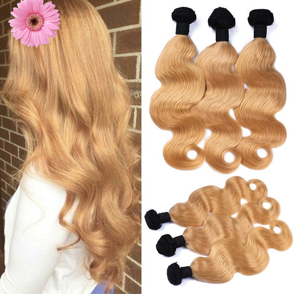 Two Tone 1B/27 Honey Blonde Dark Root Ombre Brazilian Body Wave Wavy Virgin Human Hair Weave Weft Extensions 3 Bundles Lot