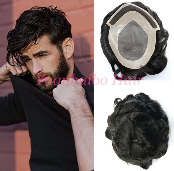 Indian remy hair toupee loose wave virgin hair men wig 7x9 size Mono Base with PU human hair toupee for men free shipping