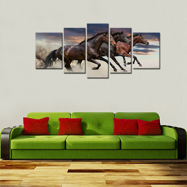5 Pieces Canvas Paintings Three Fine Horses Running Animal Picture Prints with Wooden Framed For Living Room Home Decoration Ready to Hang
