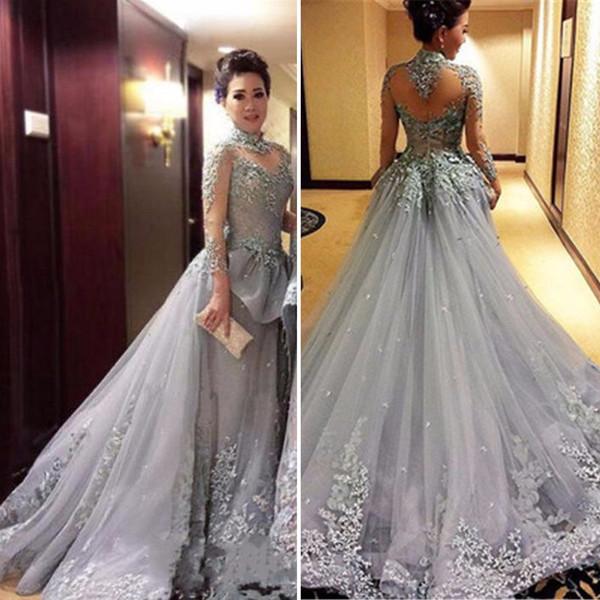 Elegant Grey Princess A Line Evening Dresses High Neck Long Sleeve ...