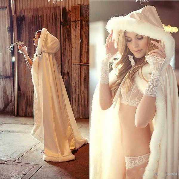 2019 New Fashion Cheap Winter Bridal Cape Faux Fur Christmas Cloaks Jackets Hooded For Winter Wedding Bridal Wraps For Wedding Dresses Sweep