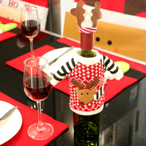 Wholesale- 2016 Christmas Reindeer Santa Claus Elf Red Wine Bottle Cover Nonwovens Navidad Decoracion Kerst Decoratie Xmas Wine Bottle Bag