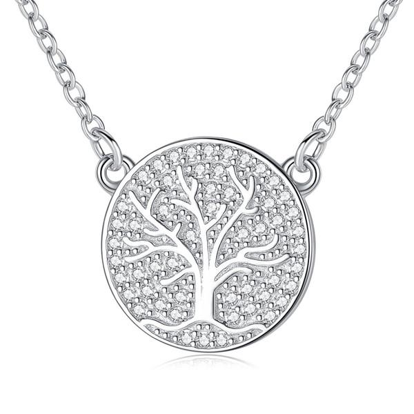 BELAWANG Venda Quente 925 Sterling Silver Chain link Colares Forma Redonda Esculpida Padrão com Árvore de Família Pingente de Colar Para As Mulheres Por Atacado