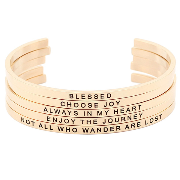 New arrival! Rose Gold Stainless Steel Engraved Positive Inspirational Quote Hand Stamped Cuff Mantra Bracelet Bangle for Women