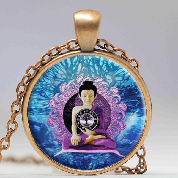 Buddhism violet crystal necklace and pendant jewelry Muslim Zen meditation YOGA Om Mandala Necklace Henna Vintage boho necklace