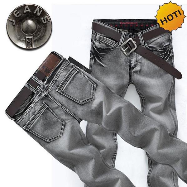 Mode 2017 Printemps Automne Casual Classique Conception Grey Denim Droit Lavé Slim Fit Biker Jeans hommes Vintage Pantalon Plus La Taille
