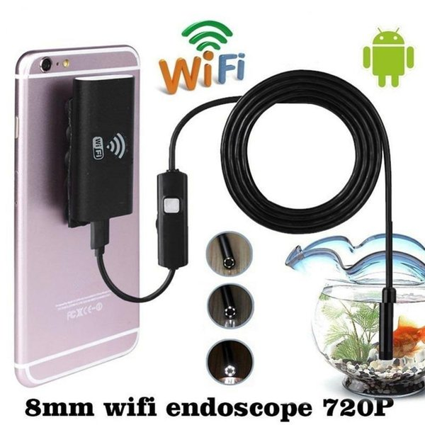 Wholesale- 1M 8mm Wifi Wireless Endoscope Waterproof for iOS Android Borescope HD 720P 6LED Tube Inspection Mini Camera 2MP CMOS Cameras
