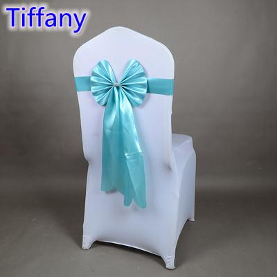 Tiffany colour chair sash long tail butterfly style wedding chair decoration luxury chair bow tie wholesale lycra spandex sash