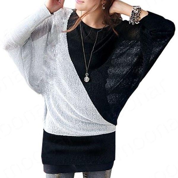 Korean Womens Casual Sheer Color Block Batwing Long Sleeve T-shirt Tops