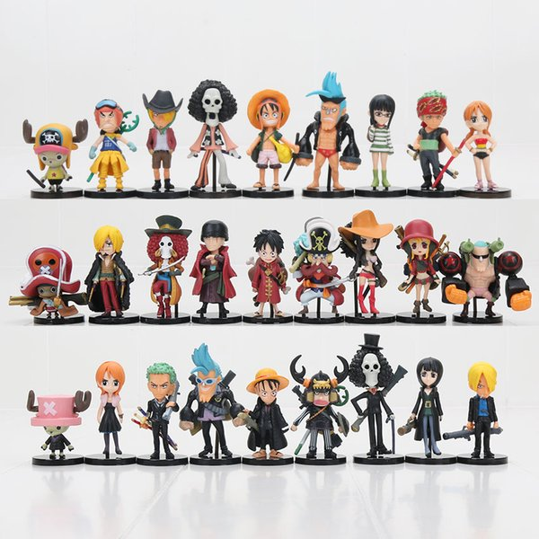 27 teile / satz One Piece Action-figuren Affe D Ruffy Roronoa Zoro Nami Lysop Sanji Tony Chopper Nico Franky Brook OP Volle Spielzeug