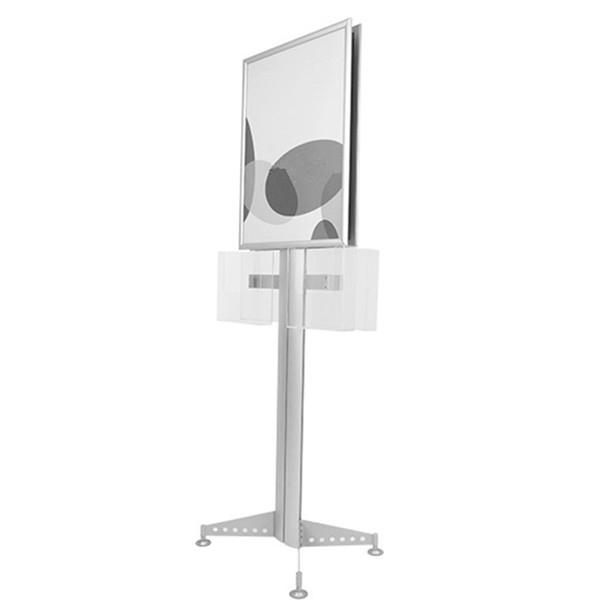 Kat Broşür Raf Çift Poster Ekran Standı ile 4 adet A4 Akrilik Sahipleri Firma Çelik Ayaklar 2 adet B2 Poster Standı