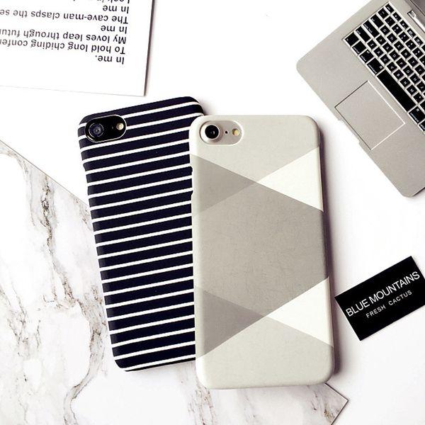 Casos breves blancos y negros del teléfono celular de la raya para Apple Iphone 6 6S 6 más Iphone 7 7 más friega 4.7 pulgadas