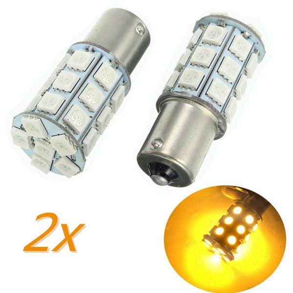 2PCS 27 SMD 5050 LED Ampoule Turn / Brake / Reverse Jaune / Queue Lumière 150 degrés BAU15s / PY21W Auto Led Ampoule 12V