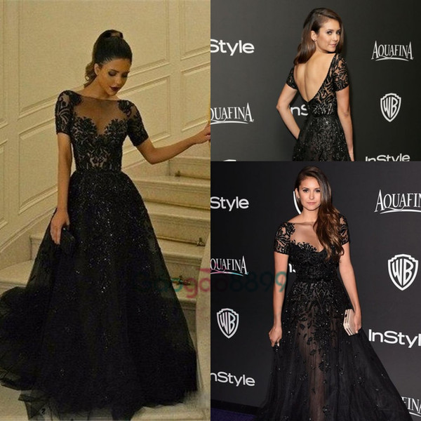 Nina Dobrev in Zuhair Murad Red Carpet Celebrity Dresses 2017 Illusion Bodice Short Sleeve Lace Applique Arabic Dubai Prom Gowns