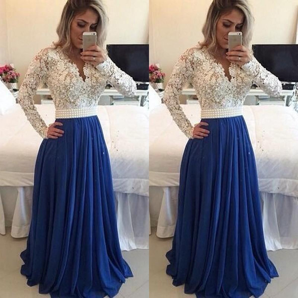 V-neck Long Sleeve Prom Dresses Royal Blue Long Prom Gowns Women Formal Wear Evening Dresses Gowns Sexy Special Occasion Dresses
