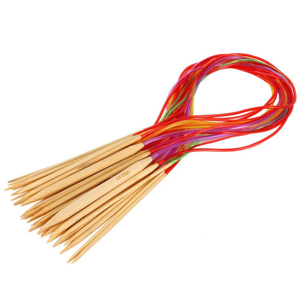 Multi-color Knitting Tools 18Pcs/set Smooth Nature Circular Bamboo Carbonized Knitting Needles Crafts Yarn tool Sets
