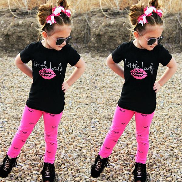 Girl summer clothes sets 2017 european style children lipstick print T shirt+eyelash print leggings 2pcs outfits kids cotton clothes suits