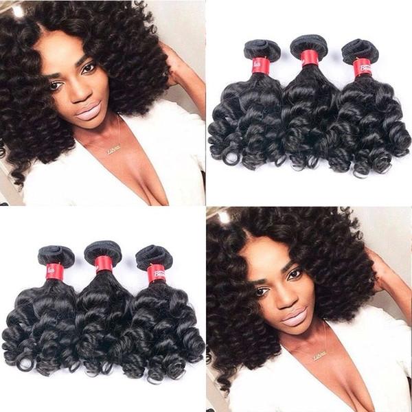 Nigeria Unprocessed Aunty Funmi Hair Weave Bouncy Curls 100% Brazilian Virgin Human Hair Extensions 3 Bundles 10-inches Natural Color 95-100