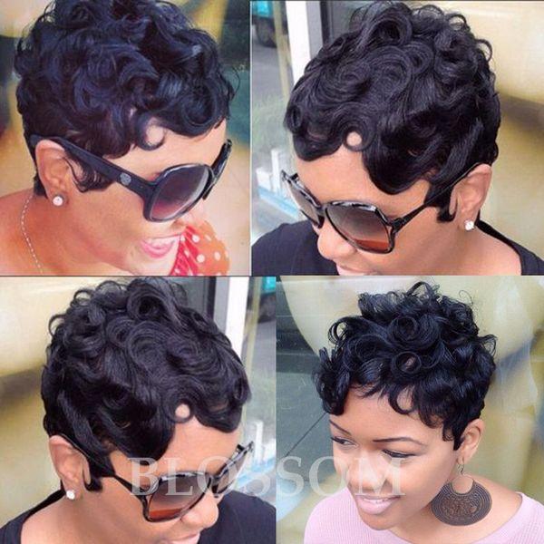 Short Human Hair Wig Short Curly Pixie Cut