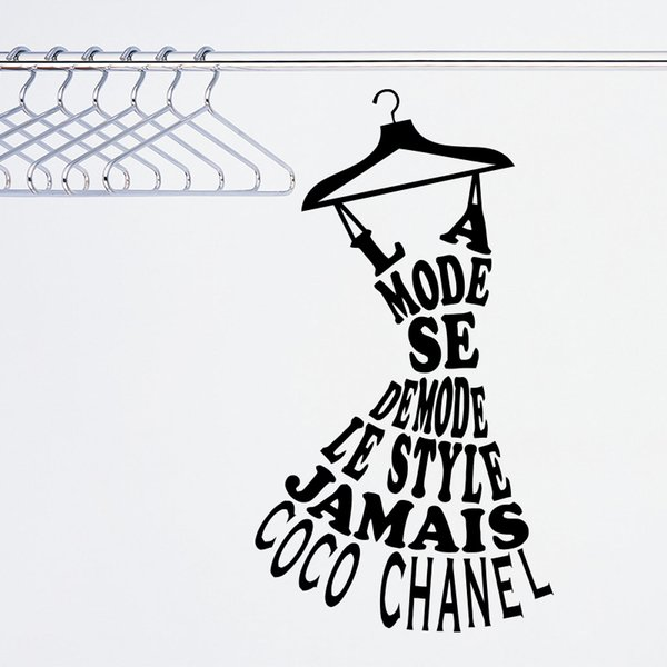 La Mode Se Demode Le Style Jamais Coco Quote Wall Sticker Home Decor DIY French Wall Decal Art Design Fashion Style Mural