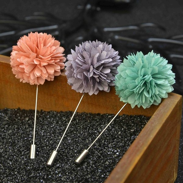 elegant flower brooch lapel pins Blooming Dahlia handmade boutonniere stick for men retro Court style brooches jewelry