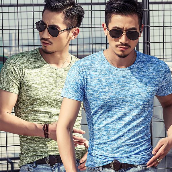 Camuflagem de Algodão de verão T-shirt Ocasional Dos Homens de Moda O-pescoço Curto Mangas Slim Fit Muscle T Shirt Dos Homens Top Tee Tshirt