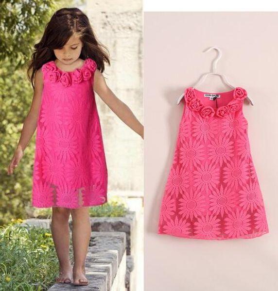 New Children Girls Three-dimensional flowers vest Dress princess Bud silk Sunflower flower Dresses wholesale