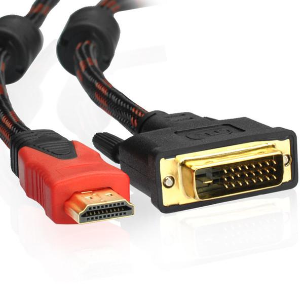 HDMI zu DVI-Kabel HDMI zu DVI-D 24 + 1 Pin Adapter Dual Link Verbindungskabel für LCD DVD HDTV XBOX Unterstützung 1080p1.5m