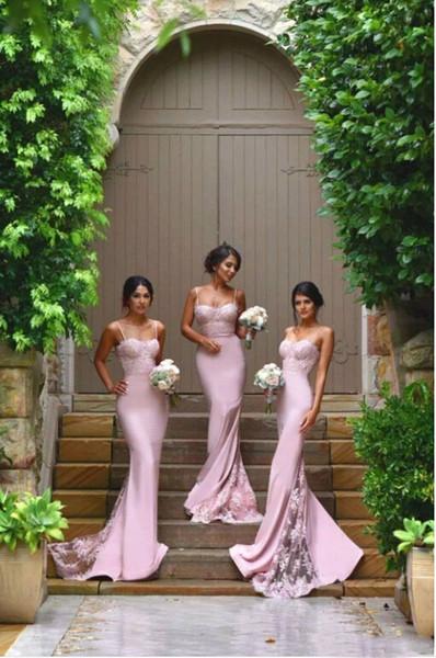Apliques de encaje elegante sirena columna vestidos de dama de honor 2017 NUEVA Sexy correas de espagueti sin mangas Hot Pink dama de honor vestidos de fiesta de boda