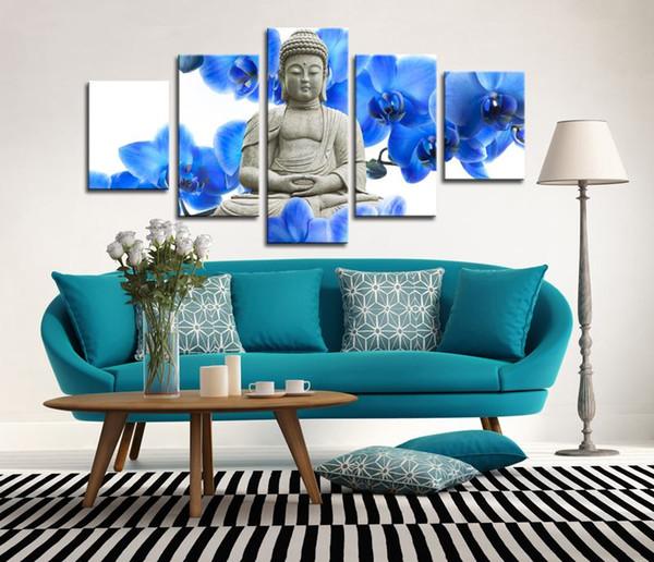Fiori blu e statua Buddha dipinti per soggiorno Pittura a olio a parete Buddha tela arte 5 pannello immagini stampate senza cornice