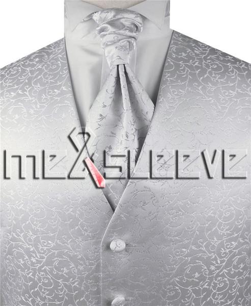 free shipping men designer silver floral Waistcoat(vest+ascot tie+cufflinks+handkerchief)