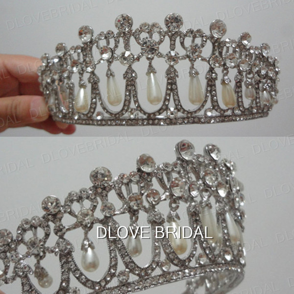 Real Photo Vintage Princess Diana Same ABS Pearl Crown Crystal Tiara Bridal Jewelry Wedding Party Hair Accessory High Quality Free Shipping