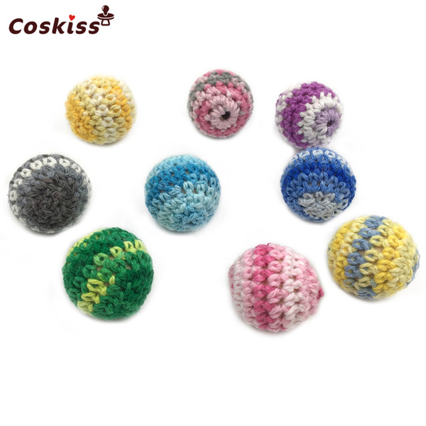 20pcs Rainbow Crochet Beads 18mm(0.71inch) Handmade Crafts Wooden Crochet Beads For DIY Baby Teether Necklace