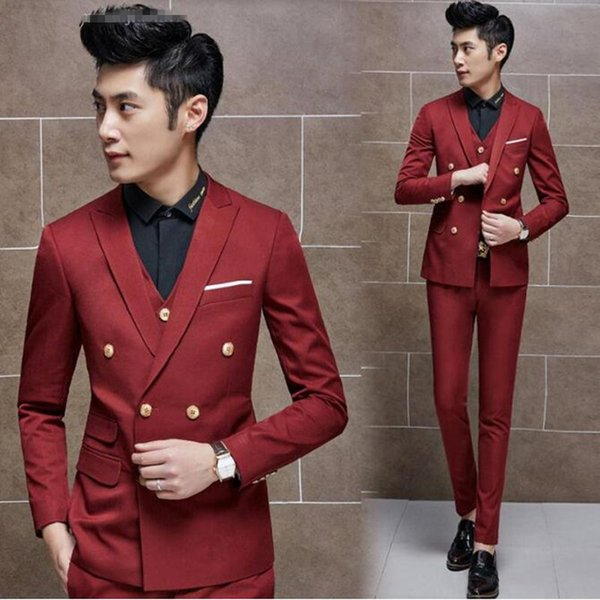 Wine red men suits double breasted wedding suits tuxedos for men custom made groom groomsman suits for men (jacket+vest+pants)