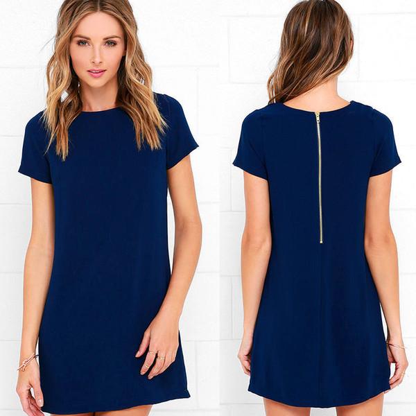 Wholesale- JRQIOT 2017 Yaz Yeni Moda Mini Parti Elbise Pamuk O-Boyun Ince T gömlek Elbiseler Artı Boyutu Kadın Giyim Ofis Vestidos
