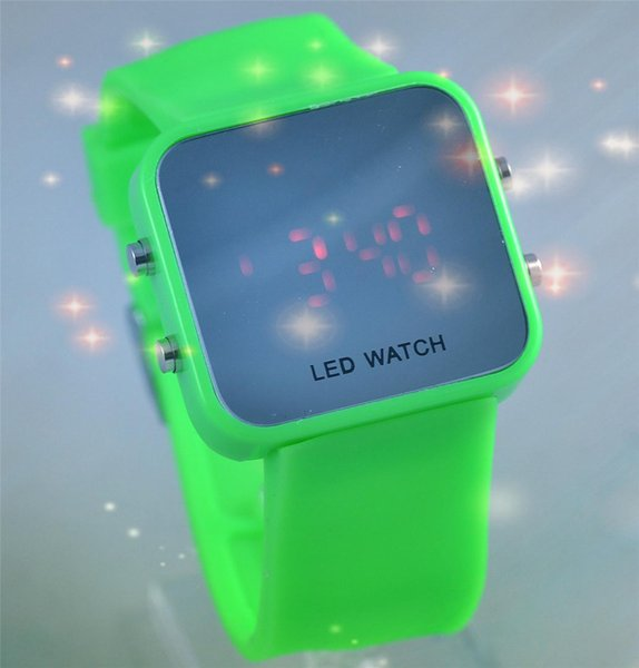 The new LED mirror candy color small fresh female Korean tide children watch students luminous electronic table