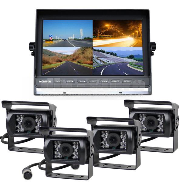 10inch Split QUAD Car Monitor + 4 x CCD IR Night Vision Rear View Camera Waterproof for Car Truck Bus Reversing Camera