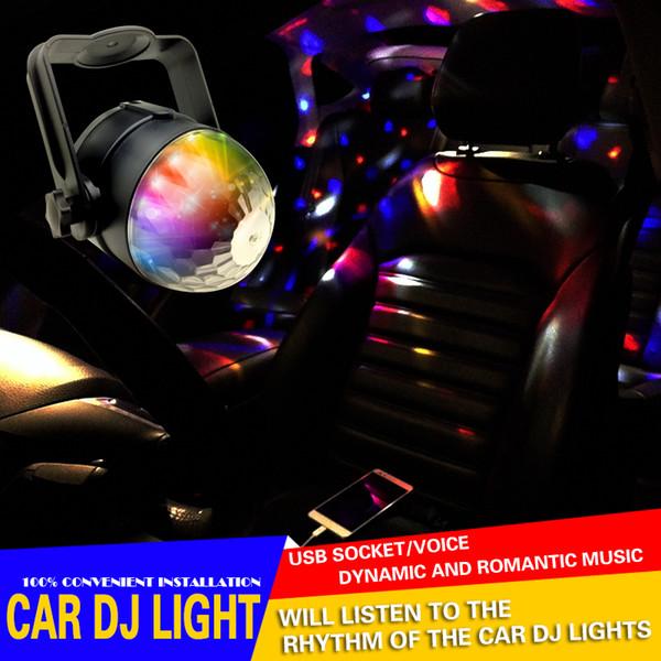 Interior del coche LED Música decorar Luces DJ Mini RGB 18w LED MP3 Club Disco Party Magic Ball Efecto de etapa Bombilla giratoria con interfaz USB