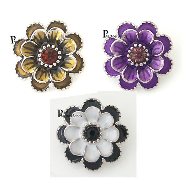 Atacado-10pcs / lot venda quente botão de flor de metal Intercambiáveis Ginger Snap Fit botão Snaps pulseira ou colar de jóias KB8776