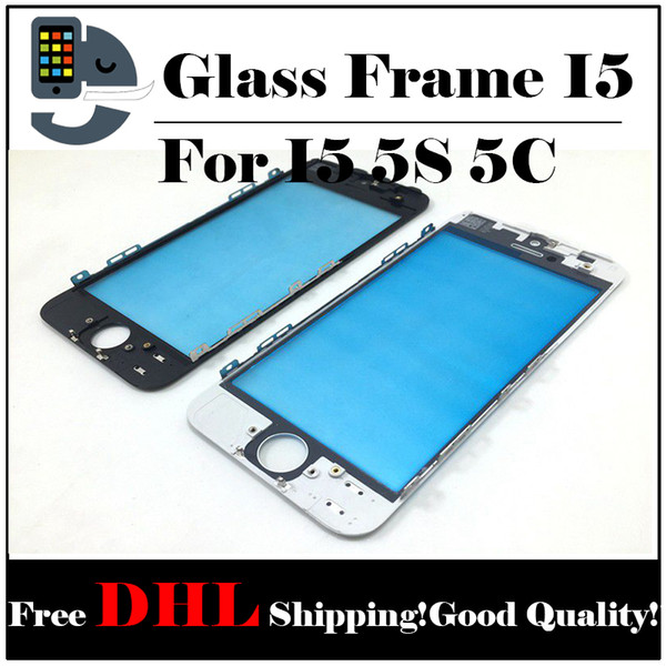 Front Touch Screen Panel Outer Glass Lens with Cold Press Middle Frame Bezel Screen for iPhone 5 5s Free Shipping