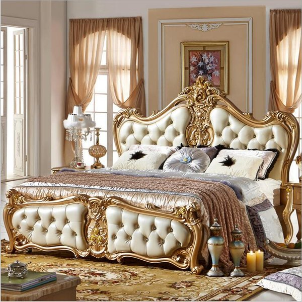 factory price king size leather modern european solid wood bed Fashion Carved bed french bedroom furniture 10063