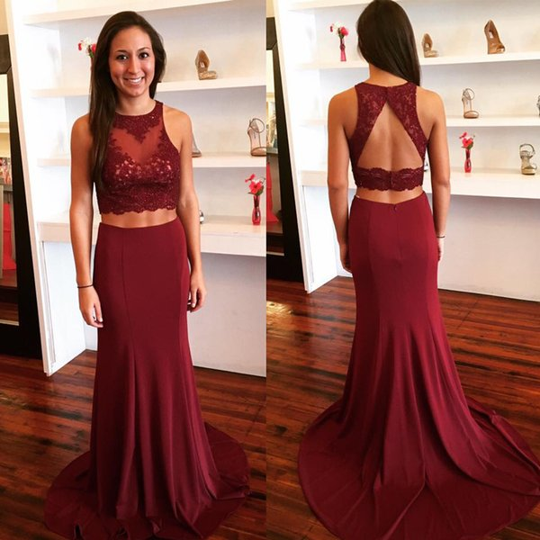 Charming Two Pieces Prom Dress Sheer Jewel Neck Sleeveless Lace Appliques Cut Out Open Back Crop Top Mermaid Skirt Long Evening Gowns