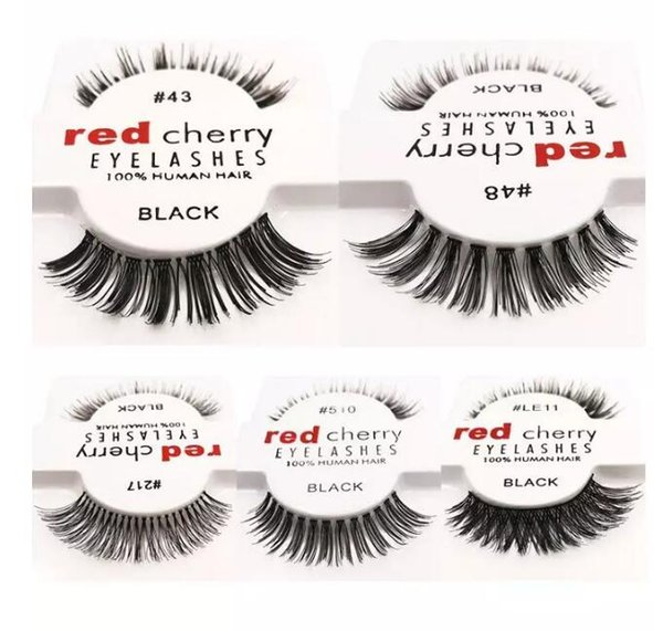 new fashion red cherry false eyelashes natural long eye lashes extension makeup professional faux eyelash winged fake lashes wispies