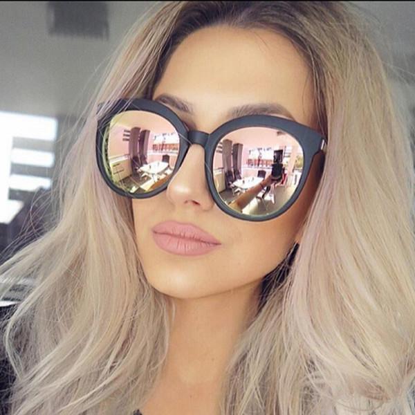 Großhandels- Hohe Qualität Runde Sonnenbrille Frauen Markendesigner 2017 Sonnenbrille Für Frauen Dame Sonnenbrille Weibliche Spiegel Gläser oculos de sol