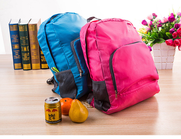 20pcs/lot Nylon Foldable Folding Collapsible Portable Zipper Travel Hiking Backpack Outdoor Sports Shoulder Bags 4colors