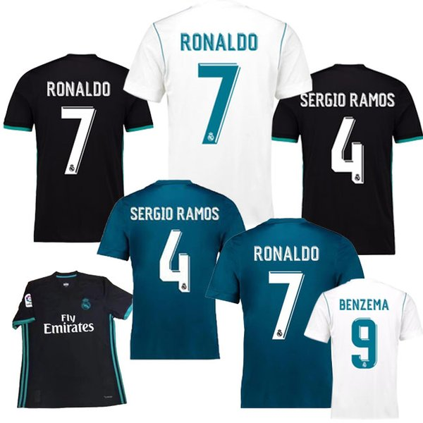 2017/2018 The Real Madrid Jersey / Kit shirt 2018 FIFA World Cup in all available colours | 2018 Fifa World Cup | Real Madrid Jersey - Home or Away | White Blue or Black | Plain, Player-promoting or Personalized --- Complete Customizability |